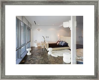 Bed And Desk In Bedroom Framed Print
