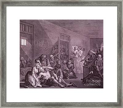 Bedlam, Engraving By Hogarth Framed Print by Science Source