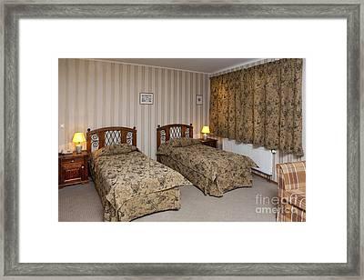 Beds In Hotel Room Framed Print