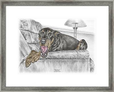 Framed Print featuring the drawing Bedtime - Doberman Pinscher Dog Print Color Tinted by Kelli Swan