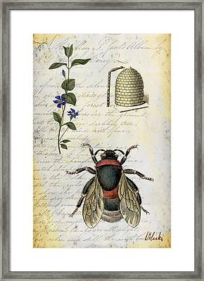 Framed Print featuring the digital art Bee Flower Hive  by Nada Meeks