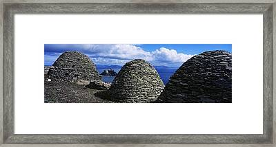 Beehive Huts At The Coast, Skellig Framed Print by The Irish Image Collection