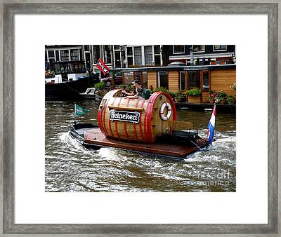Beer Boat Framed Print by Lainie Wrightson
