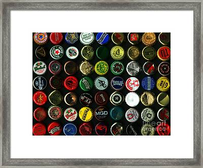 Beer Bottle Caps . 9 To 12 Proportion Framed Print by Wingsdomain Art and Photography