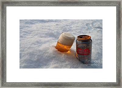 Beer In The Snow Framed Print by Rob Hawkins