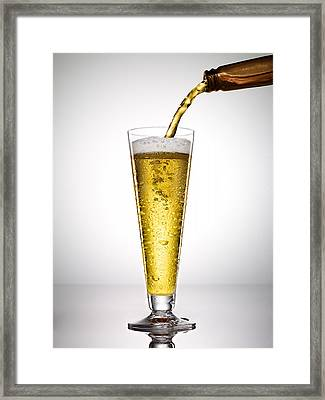 Beer On White Background Framed Print by Adrianna Williams