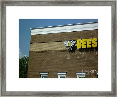 Framed Print featuring the photograph Bees On Building by Renee Trenholm