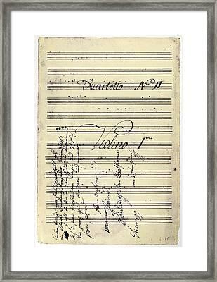 Beethoven Manuscript, 1799 Framed Print by Granger