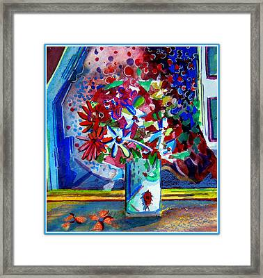 Beetle And Flowers Framed Print by Mindy Newman