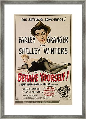 Behave Yourself, From Top, Farley Framed Print by Everett