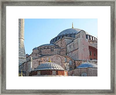 Behind The Blue Mosque Framed Print by Linda Pulvermacher
