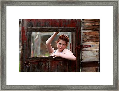 Behind The Door Framed Print
