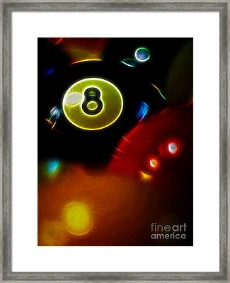 Behind The Eight Ball - Vertical Cut - Electric Art Framed Print by Wingsdomain Art and Photography