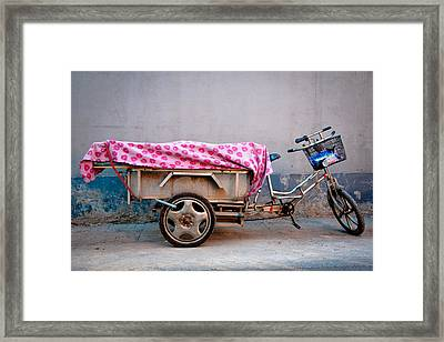 Beijing Tricycle In Hutong (alley) Framed Print