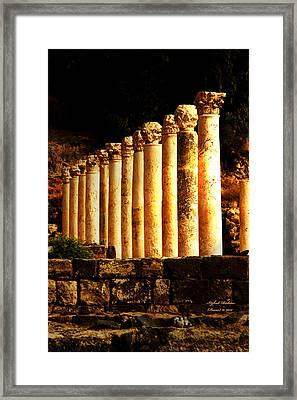 Beit She'an - Ancient Site - Colonnade.. Cardo 2 Framed Print