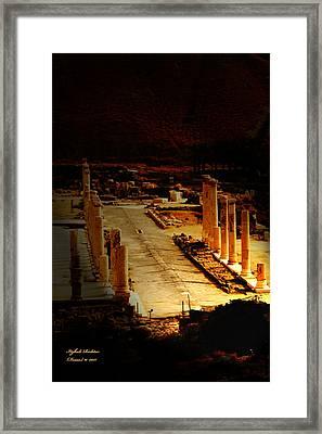 Beit She'an - Ancient Site - Colonnade.. Cardo Framed Print
