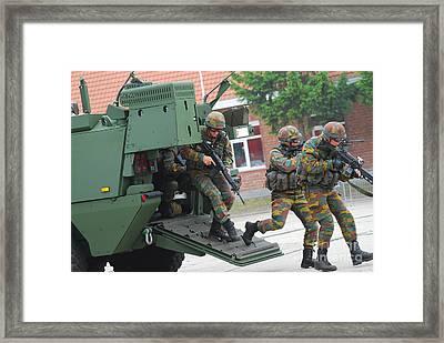 Belgian Infantry Soldiers Exit Framed Print by Luc De Jaeger