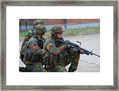 Belgian Infantry Soldiers In Training Framed Print by Luc De Jaeger