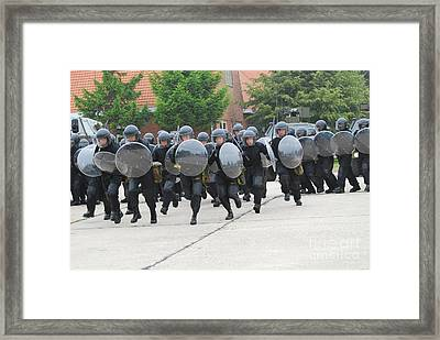 Belgian Infantry Soldiers Training Framed Print by Luc De Jaeger