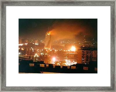 Belgrade Buildings On Fire On April 21 Framed Print