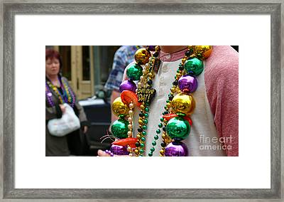 Framed Print featuring the photograph Believe Dat Mardi Gras Beads by Jeanne  Woods