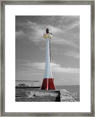 Framed Print featuring the photograph Belize City Lighthouse Color Splash Black And White by Shawn O'Brien