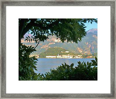 Bellagio Thru The Trees Framed Print by Marilyn Dunlap