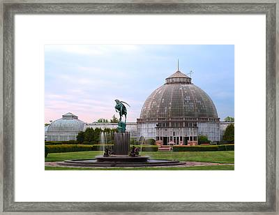 Belle Isle Anna Scripps Whitcomb Conservatory And Leaping Gazelle Statue By Marshall Fredericks Framed Print