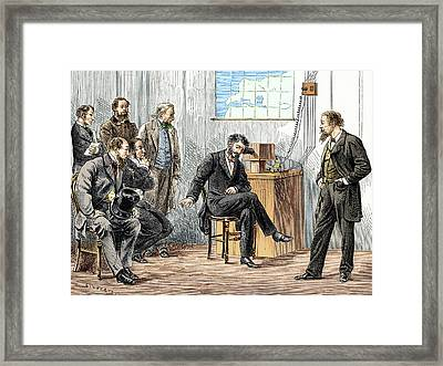 Bell's First Long-distance Telephone Call Framed Print by Sheila Terry