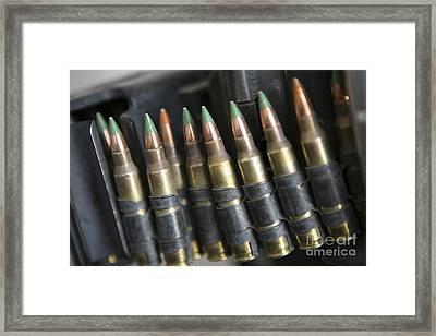 Belted Bullets For An M-249 Squad Framed Print