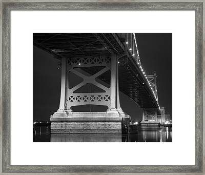 Ben Franklin Bridge Black And White Framed Print by Aaron Couture