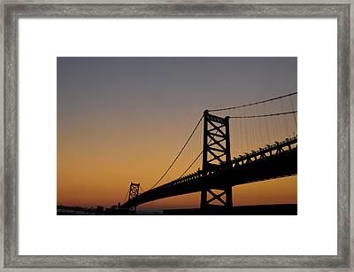 Ben Franklin Bridge Sunrise Framed Print