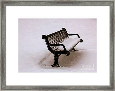 Bench  In Winter Framed Print