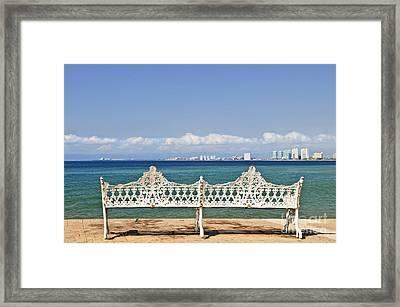 Bench On Malecon In Puerto Vallarta Framed Print
