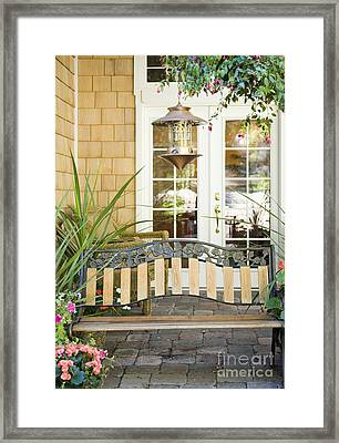 Bench On Patio Framed Print