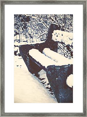 Bench With Snow Framed Print by Joana Kruse