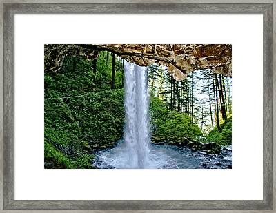 Framed Print featuring the photograph Beneath The Falls by Rob Green