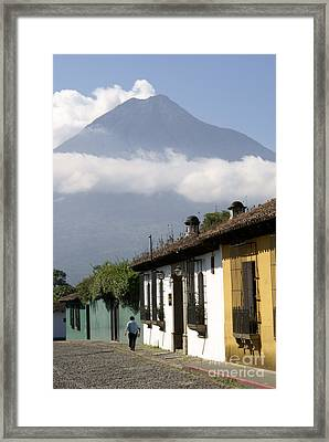 Framed Print featuring the photograph Beneath The Volcano Antigua Guatemala by John  Mitchell