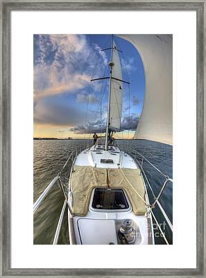 Beneteau Sailboat Sailing Sunset Framed Print by Dustin K Ryan