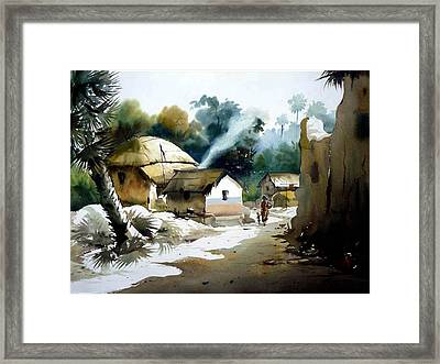 Bengal Village At Noontime Framed Print by Samiran Sarkar