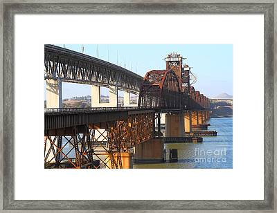 Benicia-martinez Bridges Across The Carquinez Strait In California . 7d10425 Framed Print by Wingsdomain Art and Photography