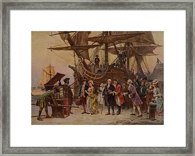 Benjamin Franklin And His Family Are Framed Print by Everett