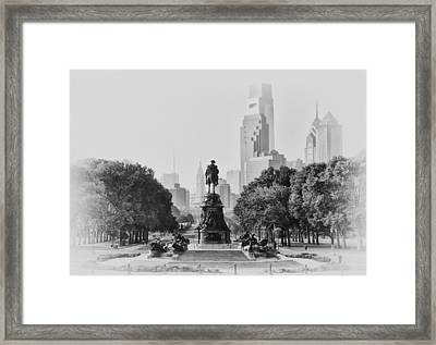 Benjamin Franklin Parkway In Black And White Framed Print by Bill Cannon