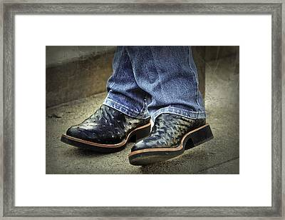 Bennys Boots Framed Print by Joan Carroll