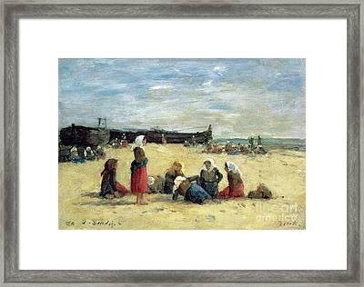 Berck - Fisherwomen On The Beach Framed Print