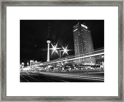 Berlin Alexanderplatz At Night Framed Print by Bernd Schunack