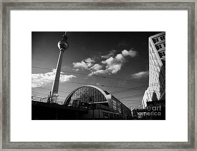 berliner fernsehturm Berlin TV tower symbol of east berlin and the Alexanderplatz railway station Framed Print by Joe Fox