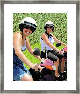 Framed Print featuring the digital art Bermuda Mopeders by Richard Stevens