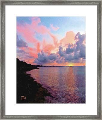 Framed Print featuring the digital art Bermuda Sunset by Richard Stevens