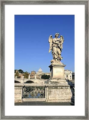 Bernini Statue On The Ponte Sant Angelo. River Tiber. Rome Framed Print by Bernard Jaubert